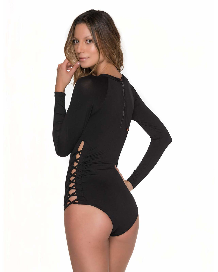 MERRY BLOSSOM ONIX LONG SLEEVE FISHBONE ONE PIECE BY MALAI