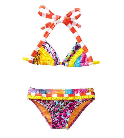 ORANGE IN THE MIX TRIANGLE BIKINI AZUL 3846-O