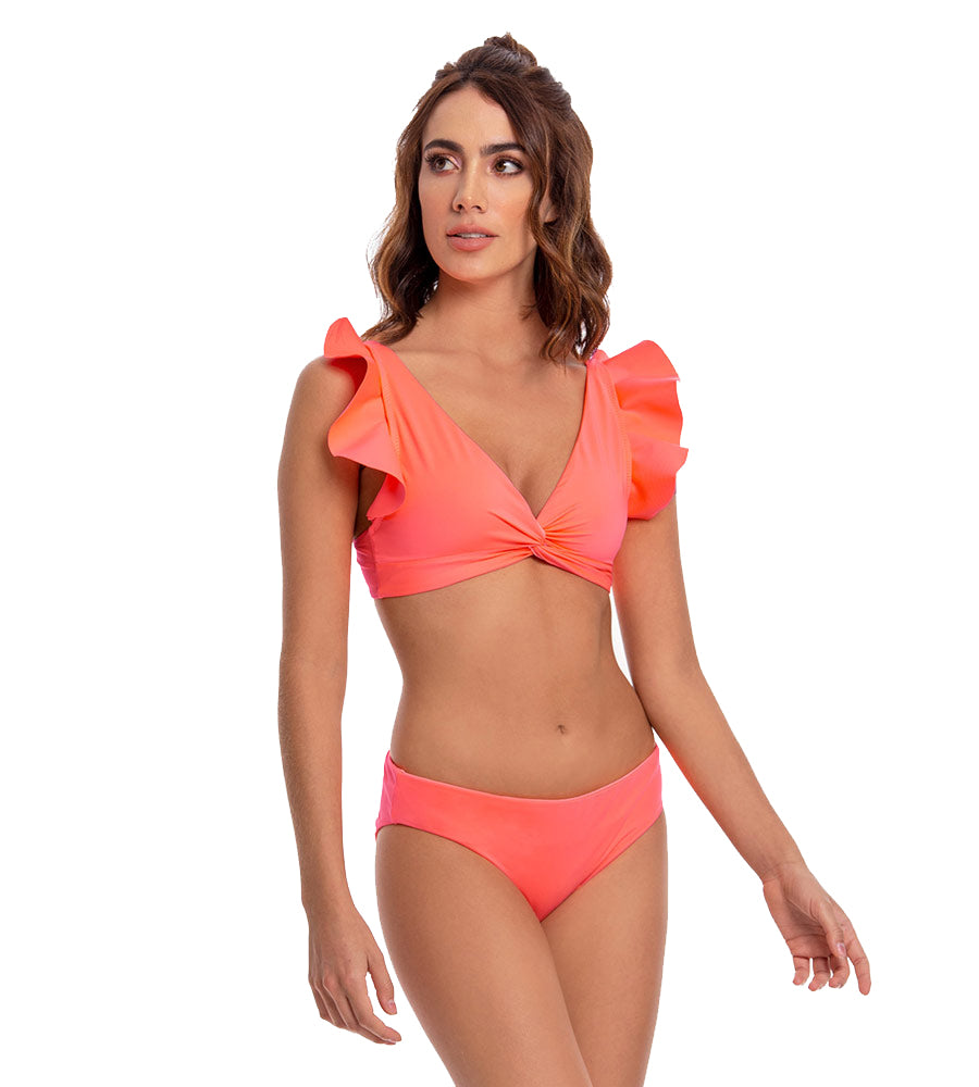 PALETTE NEON CORAL BASIC FULL BIKINI BOTTOM BY MILONGA
