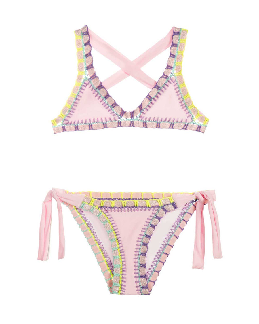 PETAL PINK RAINBOW EMBROIDERED BIKINI PILYQ PET-810B