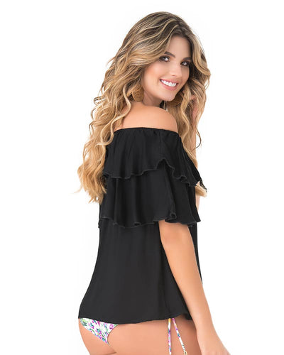 RUFFLED OFF SHOULDER BLACK BLOUSE PHAX PF11610053-001
