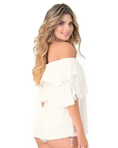 RUFFLED OFF SHOULDER IVORY BLOUSE PHAX PF11610053-253