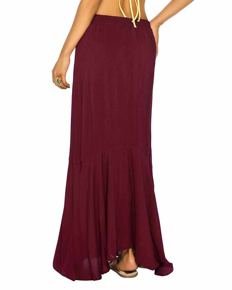 RED WINE LONG SPANISH SKIRT BY PHAX