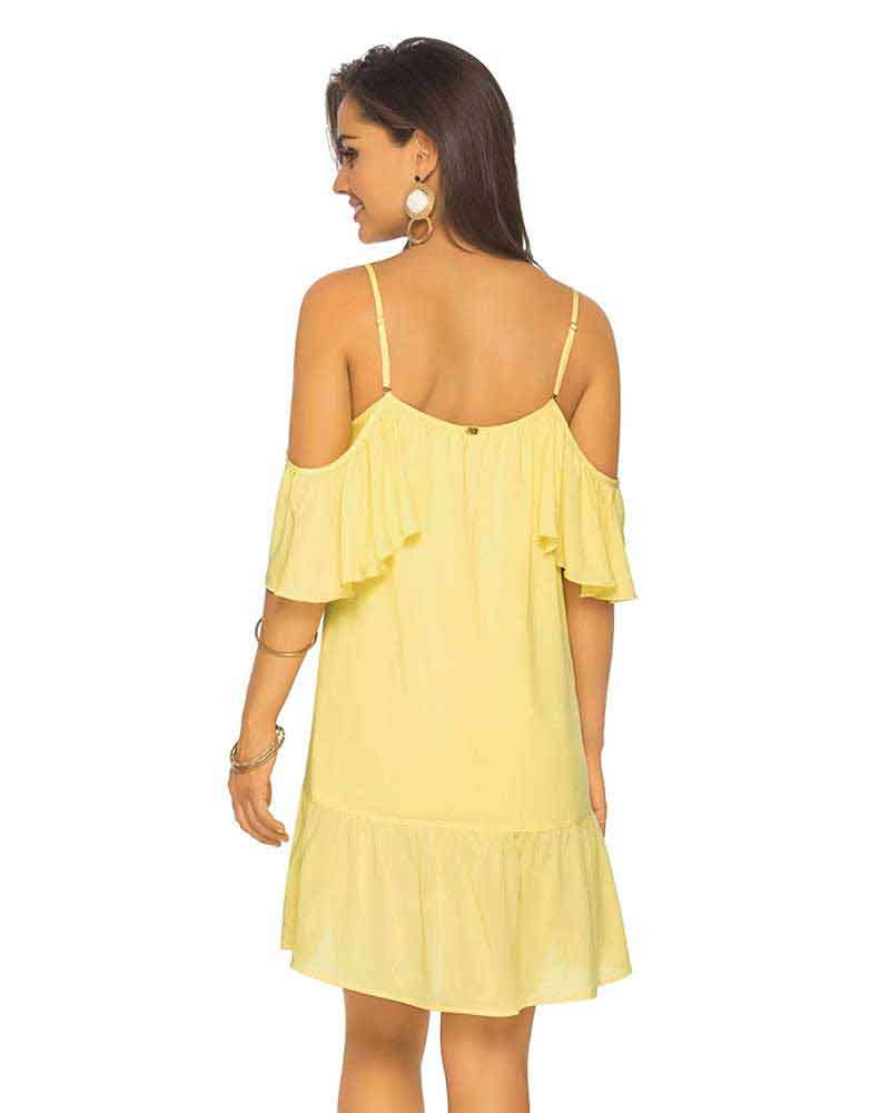 YELLOW COLD SHOULDER DRESS PHAX PF11810330-720