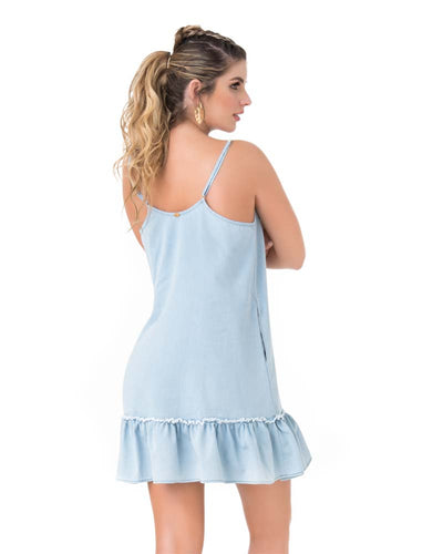 BLUE RUFFLED SHORT DRESS PHAX PF11810342-450