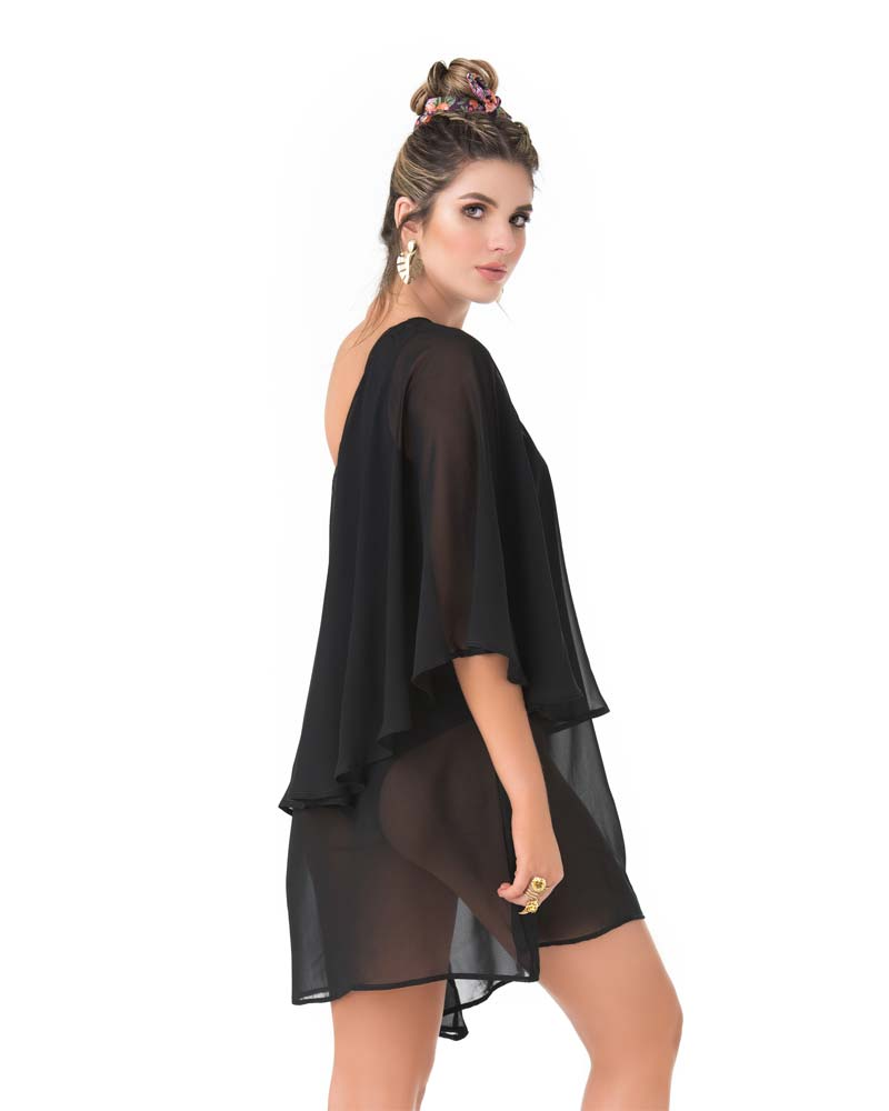 BLACK ONE SHOULDER SHORT DRESS BY PHAX