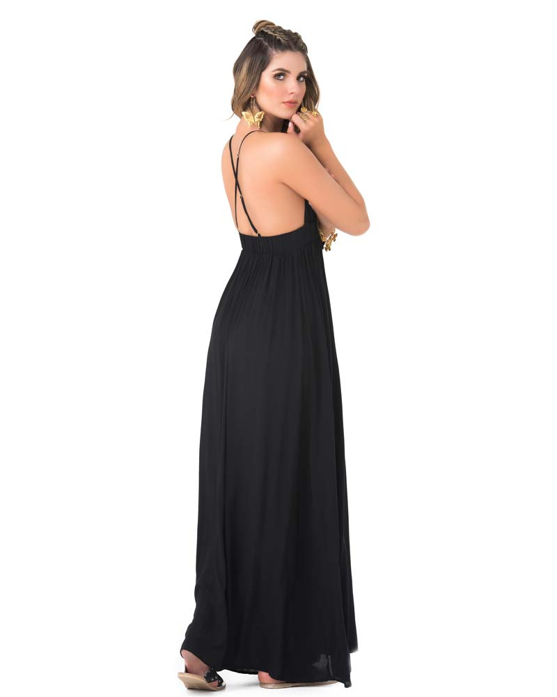 BLACK V NECK MAXI DRESS BY PHAX