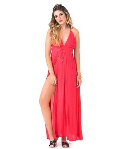 DARK PINK V NECK MAXI DRESS PHAX PF11810352-651