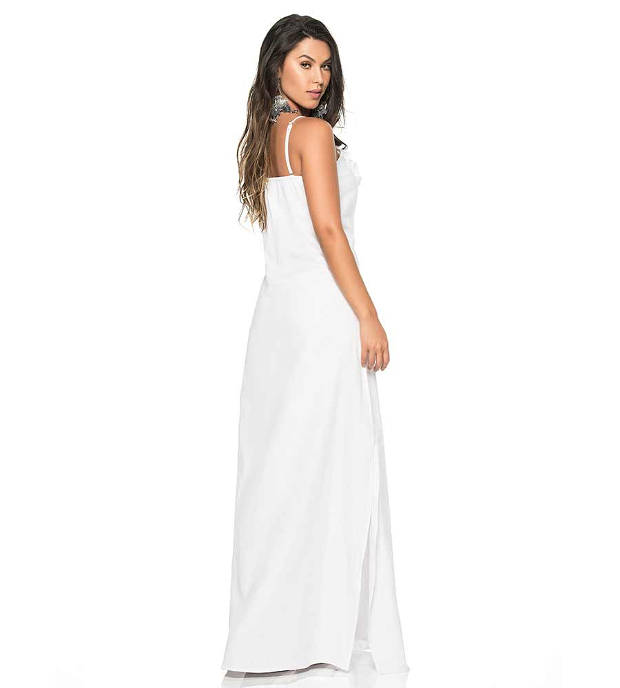 WHITE COLOR MIX LINEN LONG DRESS PHAX PF11810371-100