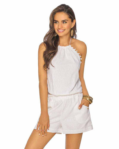 WHITE HIGH NECK POM POM ROMPER PHAX PF11840052-100