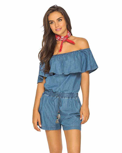 DENIM OFF SHOULDER RUFFLE ROMPER PHAX PF11840054-401