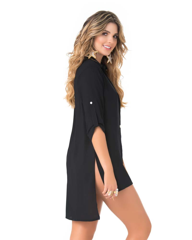 BLACK HI-LOW BLOUSE COVER UP PHAX PF16610001-001