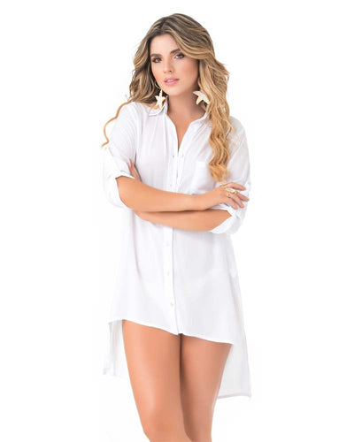 WHITE HI-LOW BLOUSE COVER UP PHAX PF16610001-100