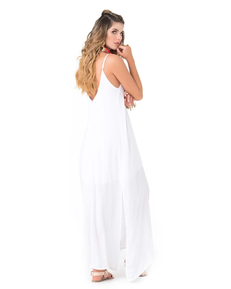 WHITE LACE UP MAXI DRESS BY PHAX