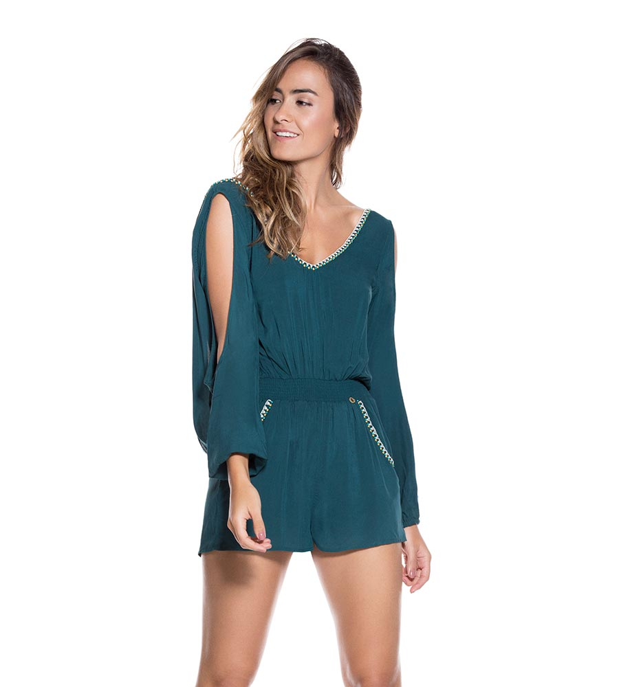 a4b9056435 TEAL RAYON PLAYSUIT ONDADEMAR PLS026-SOLID
