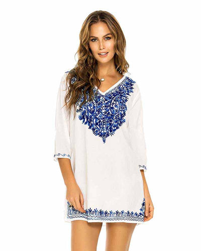 BLUE EMBROIDERED TUNIC PHAX PO11610018-410