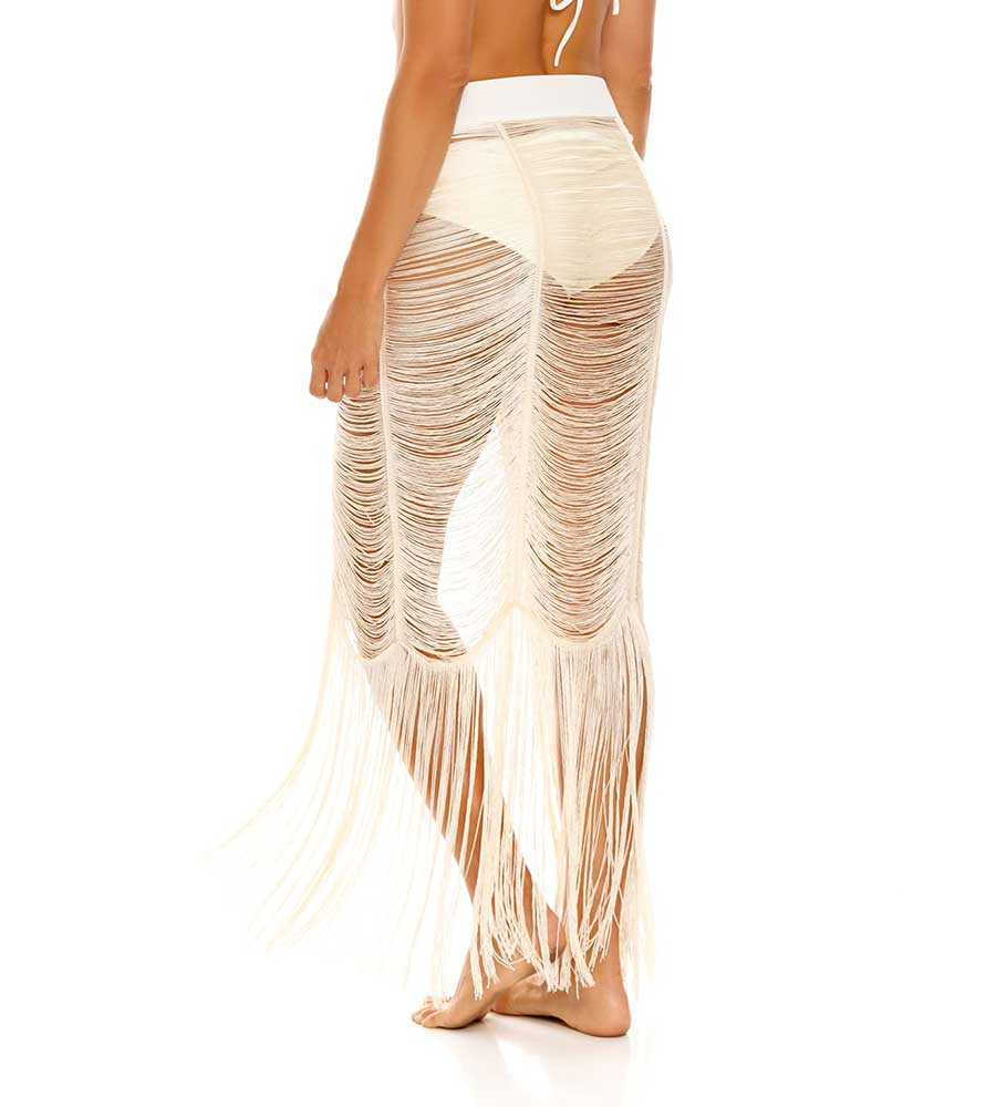 PRIMAVERA CREAM FRINGE PAREO BY MILONGA