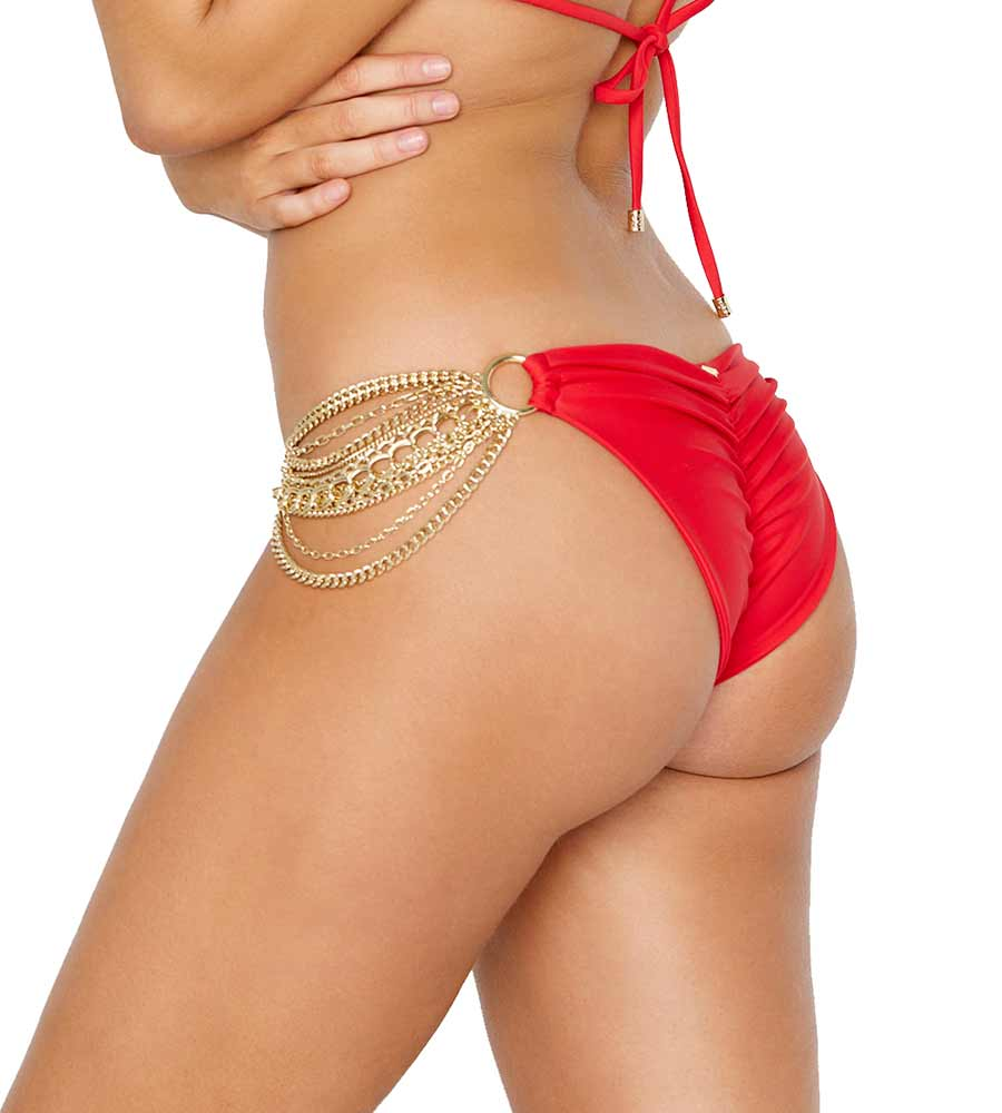 RED BALL & CHAIN SKIMPY BOTTOM BY BEACH BUNNY