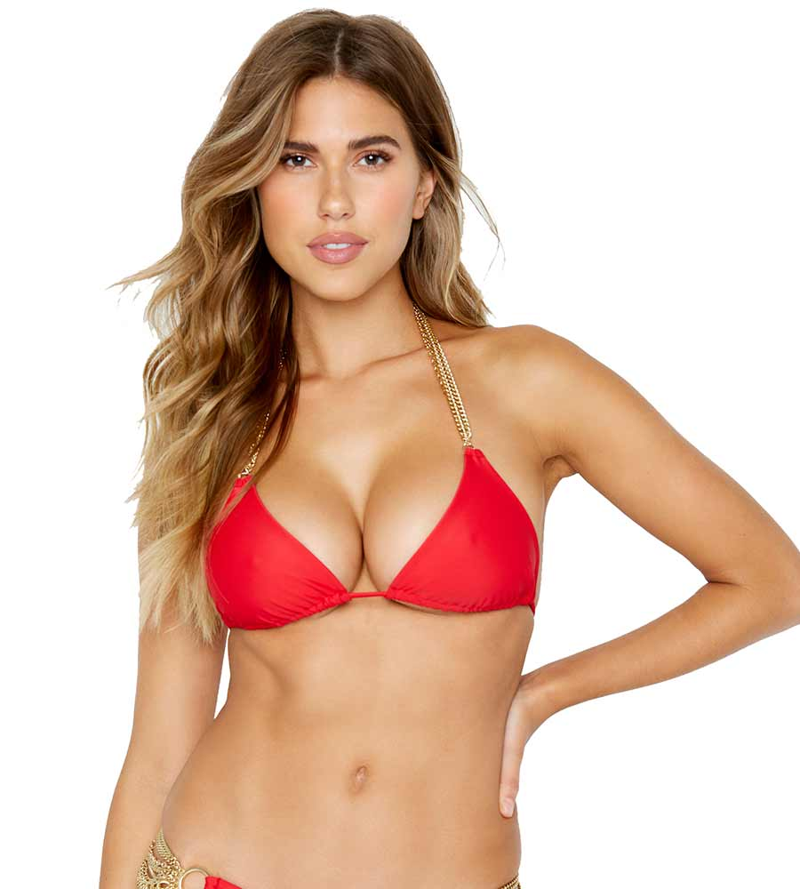 RED BALL & CHAIN TRI TOP BY BEACH BUNNY