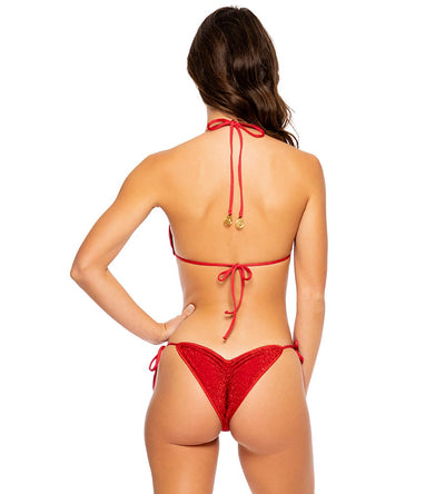RED STARDUST RUCHED BRAZILIAN TIE SIDE BOTTOM LULI FAMA L68902G-327