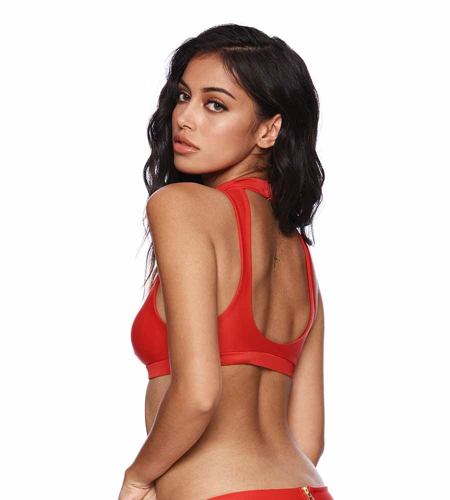 f356a72e469a9 RED ZOEY HIGH NECK TOP BY BEACH BUNNY - Kayokoko Swimwear USA