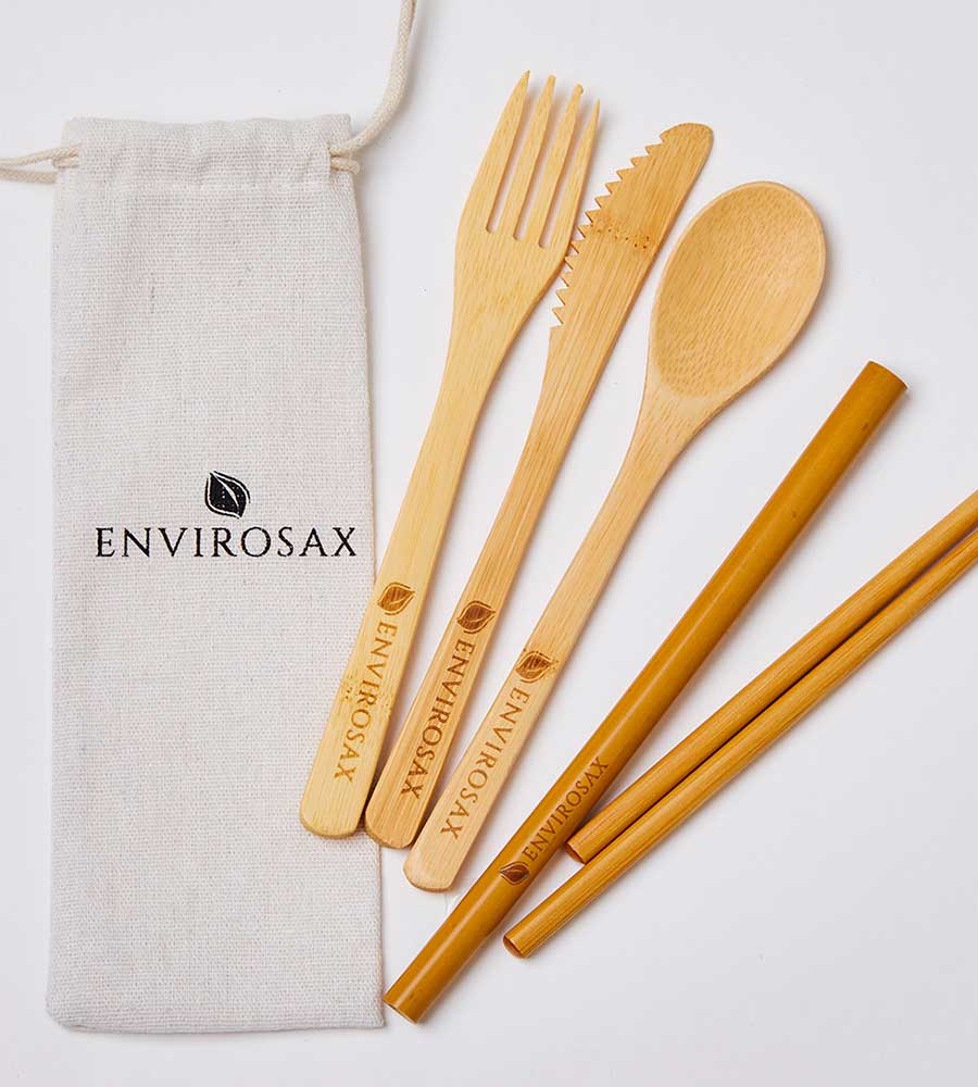 REUSABLE BAMBOO UTENSIL SET ENVIROSAX ES-UT-BMLIN