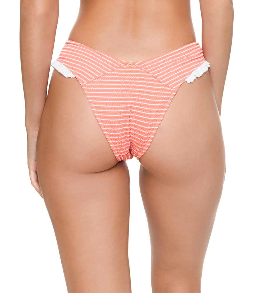 RIBBED CORAL MEG BIKINI BOTTOM BY DESPI
