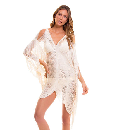 ROMANTIC OFF WHITE FRINGE COVER UP MILONGA ROMC03