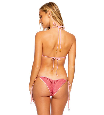 ROSE PINK STARDUST RUCHED BRAZILIAN TIE SIDE BOTTOM LULI FAMA L68902G-535