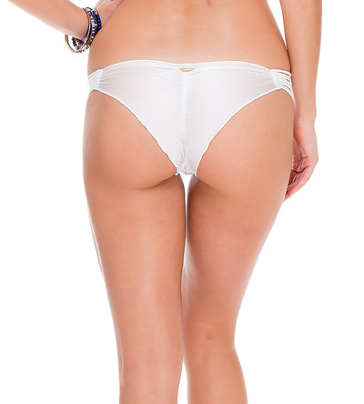 SAILOR'S KISS WHITE STRAPPY BRAZILIAN RUCHED BOTTOM LULI FAMA L50620-002