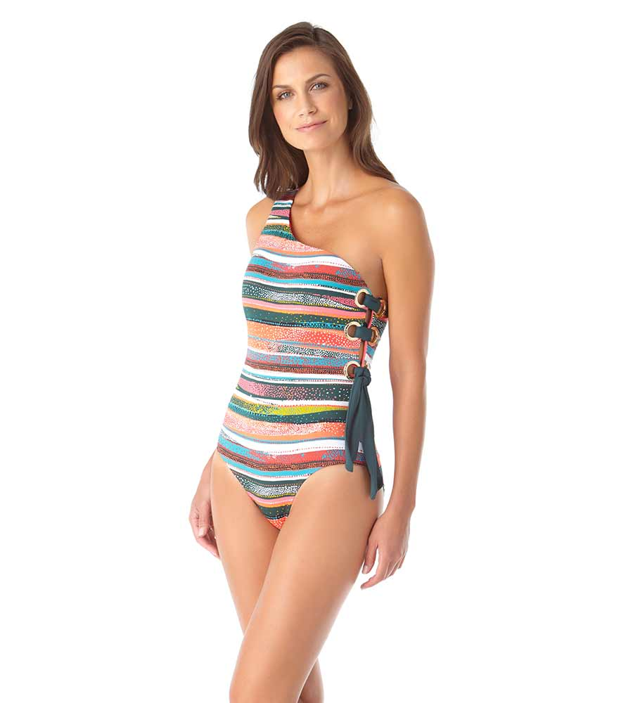 SAND STRIPE ONE SHOULDER ONE PIECE ANNE COLE 20MO05869-MULT