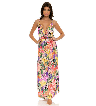 SHOCKING FLORALS RUFFLE LONG DRESS LULI FAMA L672L61-111