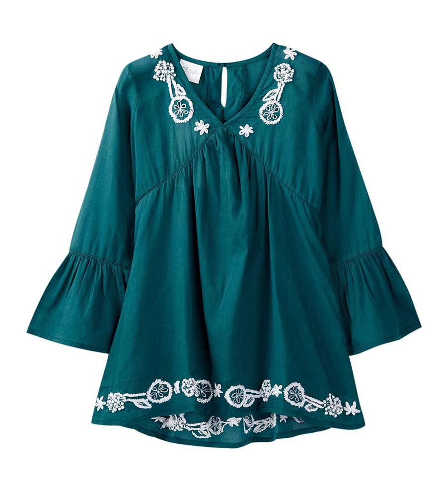 SLATE BLUE EMBROIDERY TUNIC AZUL 7955-SB
