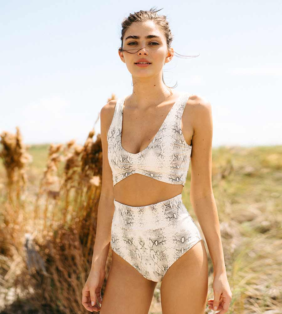 SNAKE RIB HIGH RISE BIKINI BOTTOM BY MONTCE