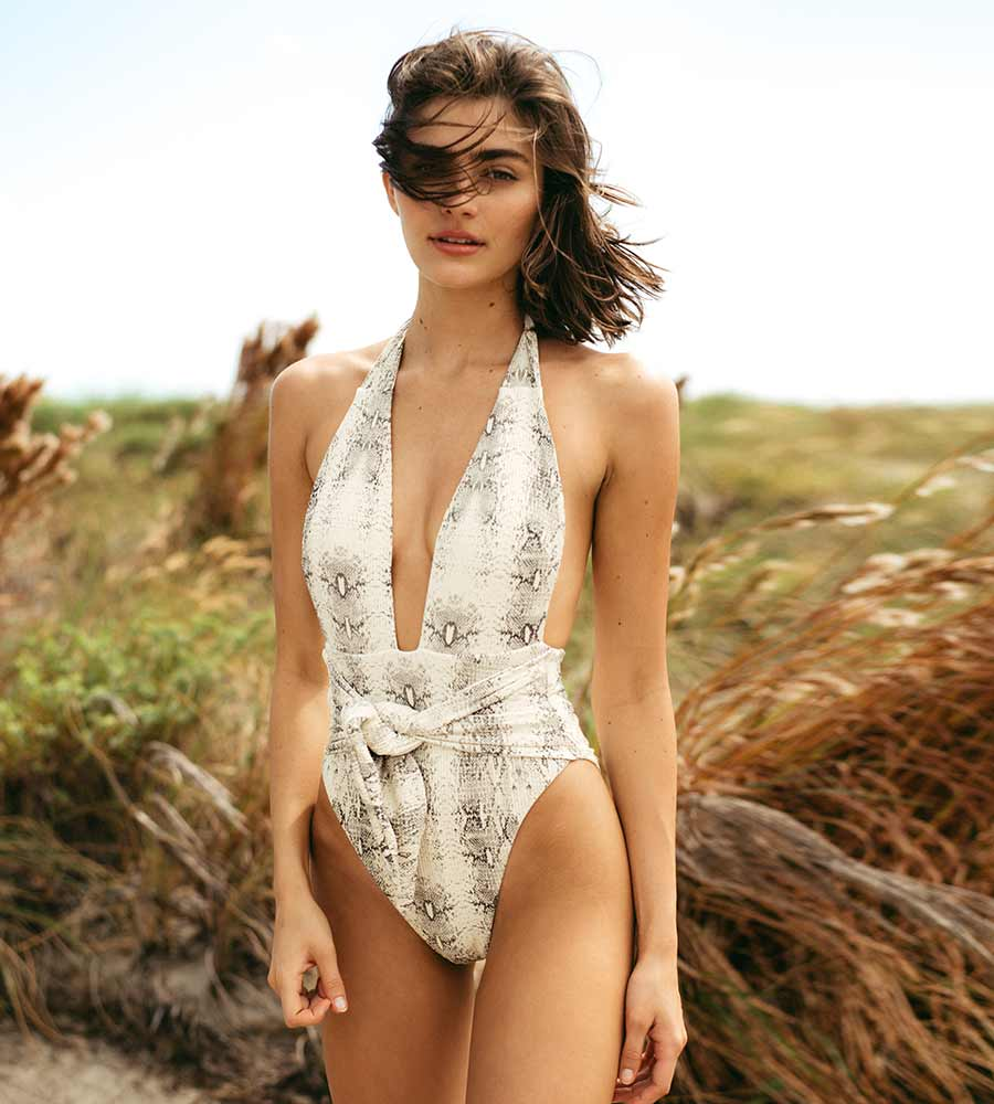 SNAKE RIB TROPEZ TIE UP ONE PIECE BY MONTCE