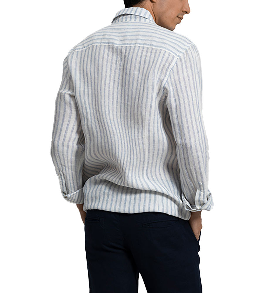 STRIPE IT OUT LONG SLEEVE LINEN SHIRT BY TOUCHE