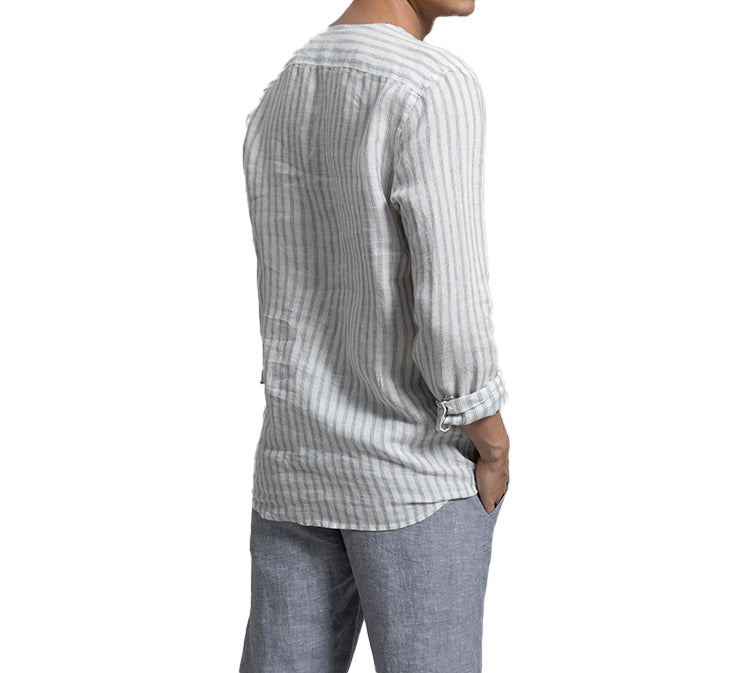 STRIPE IT OUT V NECK LINEN LONG SLEEVE SHIRT BY TOUCHE