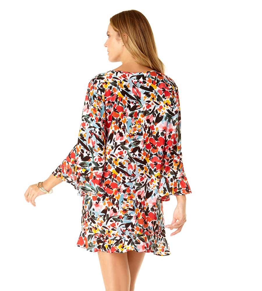 SUNSET FLORAL FLOUNCE TUNIC ANNE COLE 20MC51067-MULT