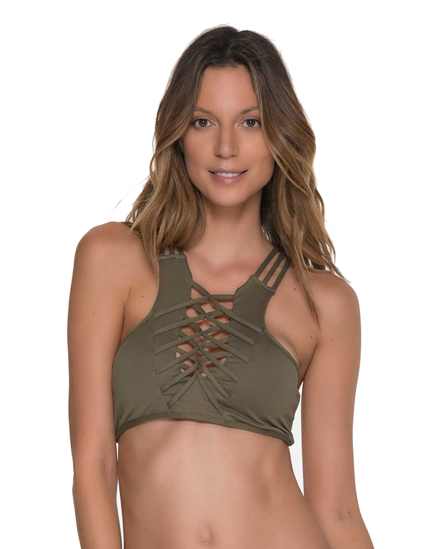 AWE FISHBONE ARMY HIGH NECK TOP BY MALAI