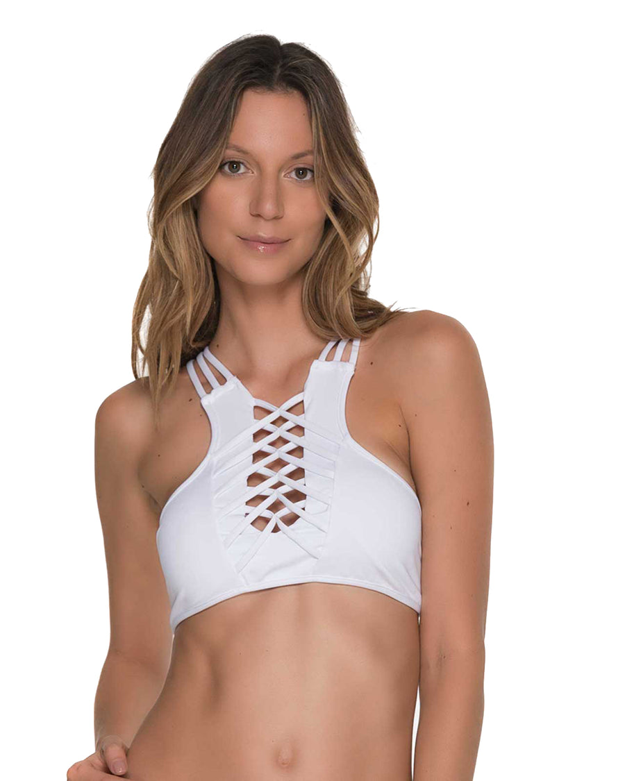 AWE FISHBONE WHITE HIGH NECK TOP BY MALAI