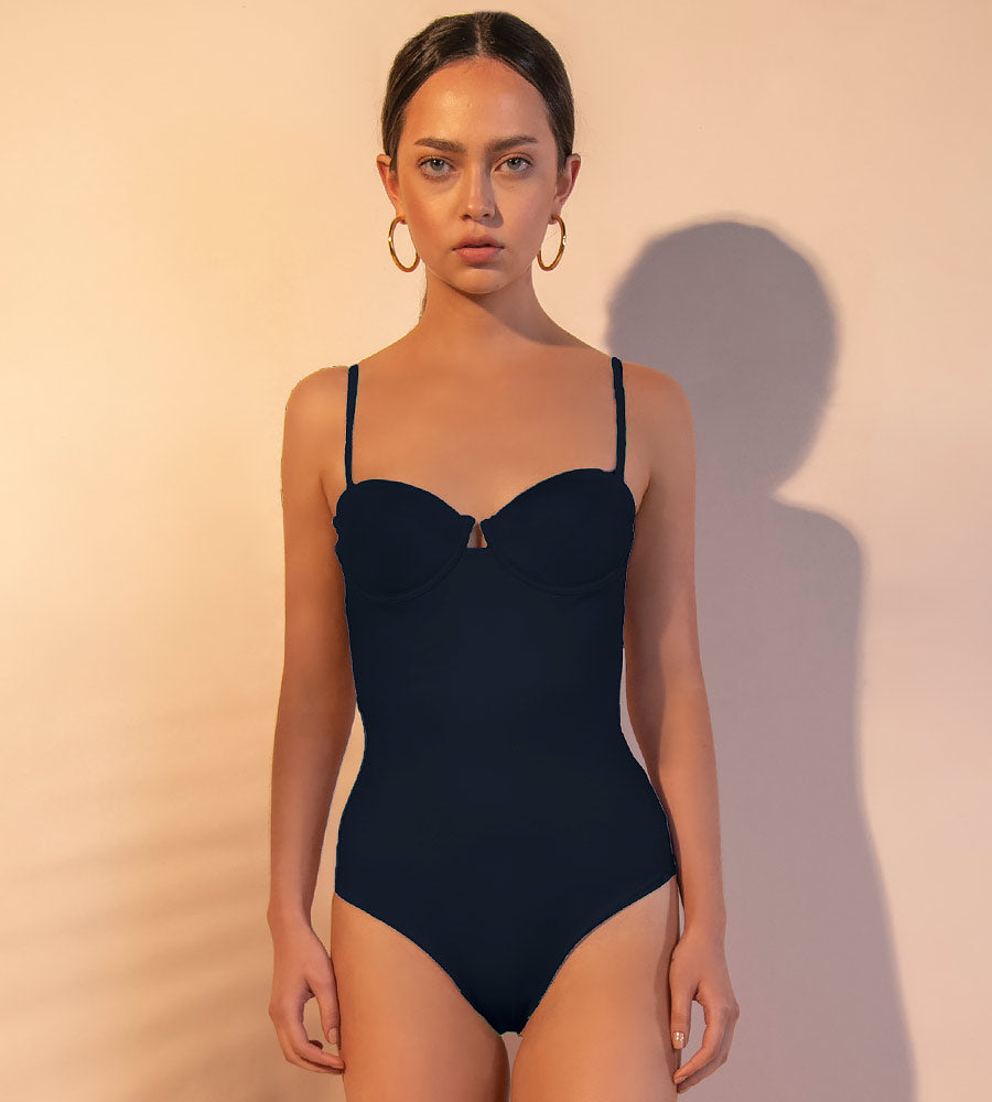THE SOLIDKISSED BLACK ONE PIECE ANCORA F291OP