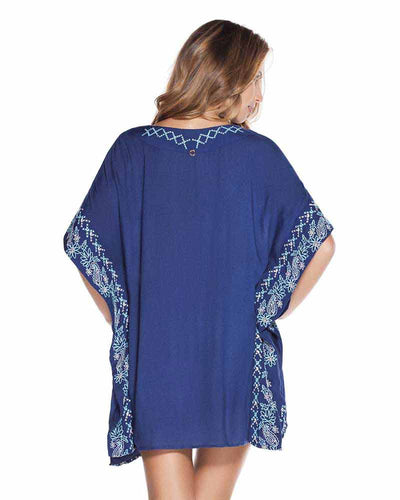 BLUE EMBROIDERED PONCHO ONDADEMAR TPO038-SOLID