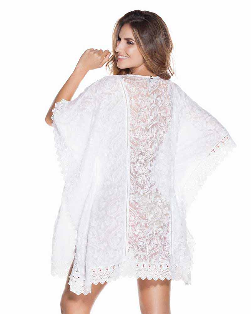 WHITES EMBROIDERED PONCHO ONDADEMAR TPO041-WHTS