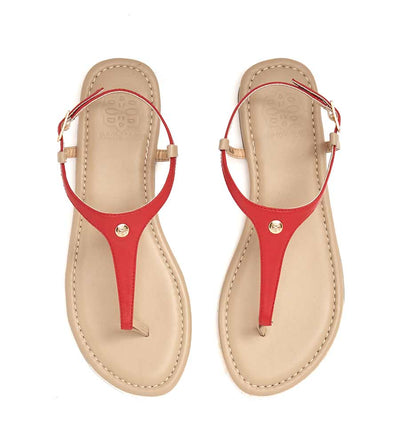 TAN SANDAL_RED LEATHER CAMBIAMI TSRL