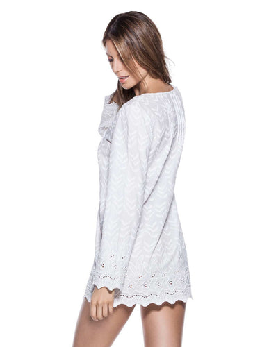 EMBROIDERED COTTON TUNIC ONDADEMAR TTU060-WHO