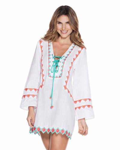 WHITE EMBROIDERED TUNIC ONDADEMAR TTU081-SOLID