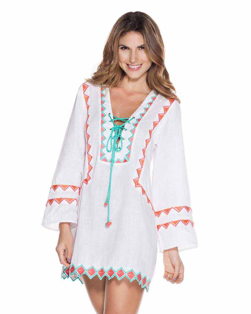 58e5b6d40c WHITE EMBROIDERED TUNIC BY ONDADEMAR - Kayokoko Swimwear USA