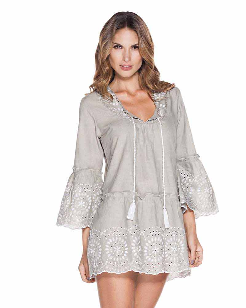 9b6bb7d620 GRAY EMBROIDERED COTTON TUNIC BY ONDADEMAR - Kayokoko Swimwear USA