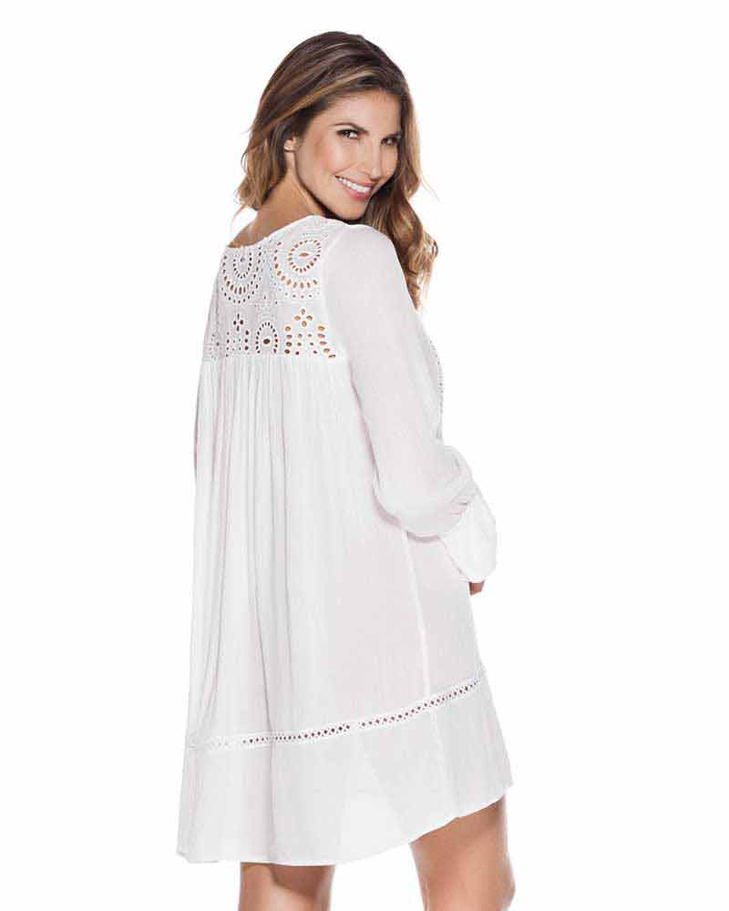 WHITES COTTON EYELET EMBELLISHED TUNIC ONDADEMAR TTU085-WHTS