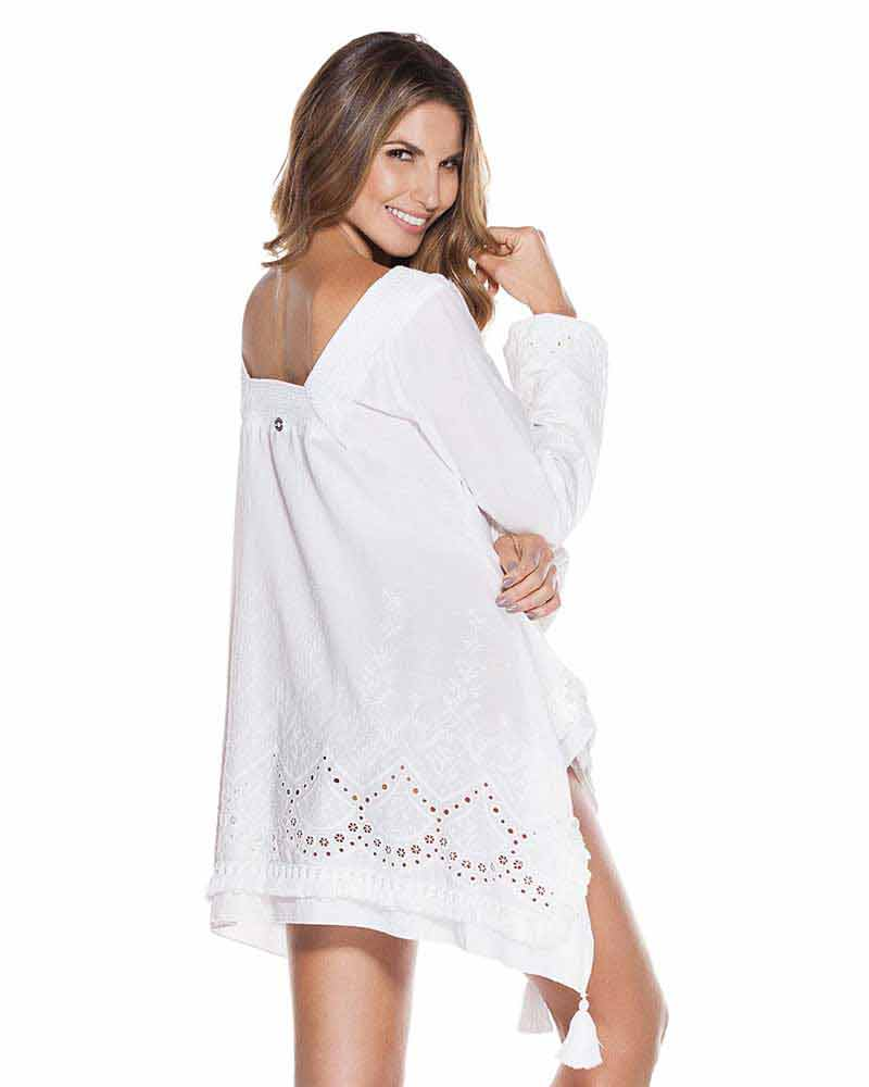 WHITES COTTON EYELET TUNIC ONDADEMAR TTU086-WHTS